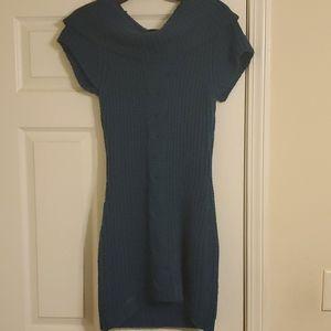 DOTS TEAL SWEATER DRESS